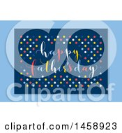 Clipart Of A Happy Fathers Day Polka Dot Design Over Blue Royalty Free Vector Illustration