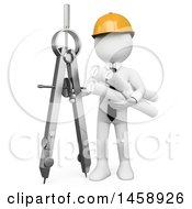 Clipart Of A 3d White Man Architect With A Giant Compass And Blueprints On A White Background Royalty Free Illustration