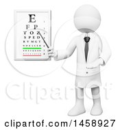 3d White Man Optometrist Pointing To An Eye Chart On A White Background
