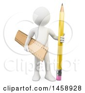 Clipart Of A 3d White Man With A Ruler And Pencil On A White Background Royalty Free Illustration