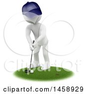 Clipart Of A 3d White Man Golfing On A White Background Royalty Free Illustration