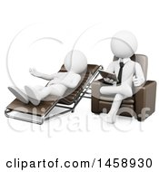 Clipart Of A 3d White Male Therapist Listening To A Patient On A White Background Royalty Free Illustration