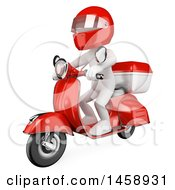 Clipart Of A 3d White Man Courier On A Scooter On A White Background Royalty Free Illustration