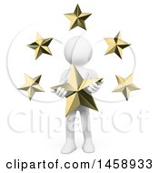 Clipart Of A 3d White Man With Stars On A White Background Royalty Free Illustration