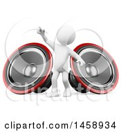 Clipart Of A 3d White Man With Speakers On A White Background Royalty Free Illustration