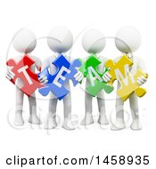 Clipart Of A 3d Group Of White Men Holding Team Puzzle Pieces On A White Background Royalty Free Illustration