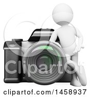 Clipart Of A 3d White Man Leaning On A Camera On A White Background Royalty Free Illustration