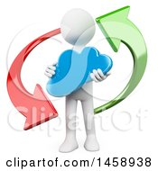 Clipart Of A 3d White Man Holding A Cloud In A Circle Of Arrows On A White Background Royalty Free Illustration