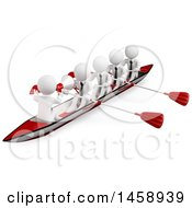 Poster, Art Print Of 3d Team Of White Men Rowing A Boat On A White Background