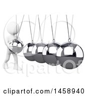 Clipart Of A 3d White Man Playing With A Newtons Cradle On A White Background Royalty Free Illustration by Texelart
