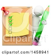 Clipart Of A 3d White Man With A Cork Board Post It And Pencil On A White Background Royalty Free Illustration