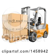 Clipart Of A 3d White Man Operating A Forklift On A White Background Royalty Free Illustration
