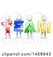 Clipart Of A 3d Group Of White Men Holding Team Letters On A White Background Royalty Free Illustration