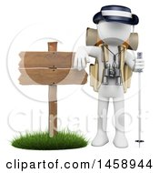3d White Man Hiker By A Sign On A White Background