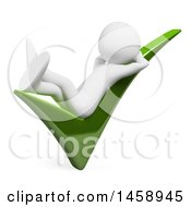Clipart Of A 3d White Man Relaxing On A Check Mark On A White Background Royalty Free Illustration