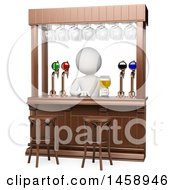 Clipart Of A 3d White Man Bartender On A White Background Royalty Free Illustration