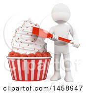 Clipart Of A 3d White Man With A Huge Ice Cream With Raspberries On A White Background Royalty Free Illustration