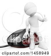 Clipart Of A 3d White Man Sitting On A Gaming Computer Mouse On A White Background Royalty Free Illustration