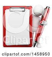 Clipart Of A 3d White Man With A Pen And Clipboard On A White Background Royalty Free Illustration