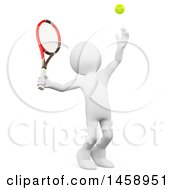 Poster, Art Print Of 3d White Man Serving A Tennis Ball On A White Background