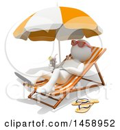 Clipart Of A 3d White Man Relaxing On A Beach On A White Background Royalty Free Illustration