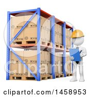 3d White Man Taking Inventory In A Warehouse On A White Background