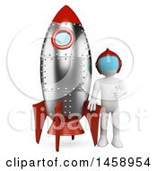 Clipart Of A 3d White Man With A Rocket On A White Background Royalty Free Illustration