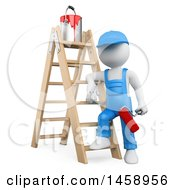 3d White Man Painter With A Ladder On A White Background