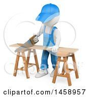 Poster, Art Print Of 3d White Man Using A Saw To Cut Wood On A White Background