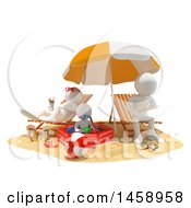 Clipart Of A 3d White Family On A Beach On A White Background Royalty Free Illustration
