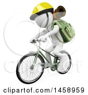 Clipart Of A 3d White Man Riding A Bicycle With Hiking Gear On A White Background Royalty Free Illustration