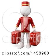 3d White Man Bellhop Holding Suitcases On A White Background