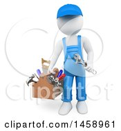Poster, Art Print Of 3d White Man Handyman With Tools On A White Background