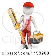 Poster, Art Print Of 3d White Man Electrician With A Giant Screwdriver On A White Background