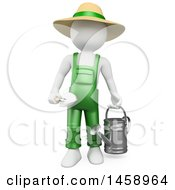 3d White Man Gardener With A Watering Can And Spade On A White Background