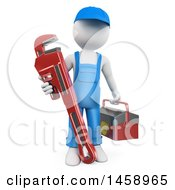 Poster, Art Print Of 3d White Man Plumber With A Giant Monkey Wrench On A White Background