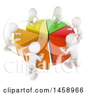 Poster, Art Print Of 3d Team Of White Men Pushing Together A Pie Chart On A White Background