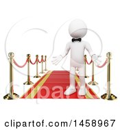 Clipart Of A 3d White Man On A Red Carpet On A White Background Royalty Free Illustration