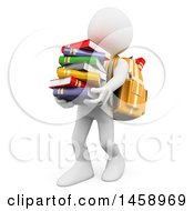 Clipart Of A 3d White Man Student Carrying A Stack Of Books On A White Background Royalty Free Illustration