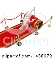 Clipart Of A 3d White Man Rolling Out A Red Carpet On A White Background Royalty Free Illustration