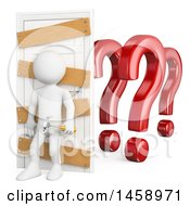 Clipart Of A 3d White Man Closing A Door Against Doubt On A White Background Royalty Free Illustration