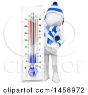 Clipart Of A 3d White Man With A Winter Thermometer On A White Background Royalty Free Illustration