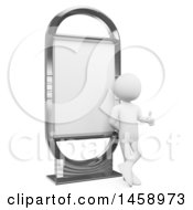 Clipart Of A 3d White Man Giving A Thumb Up And Leaning On A Billboard On A White Background Royalty Free Illustration