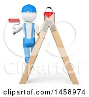 3d White Man Painter On A Ladder On A White Background