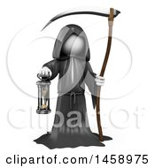 Poster, Art Print Of 3d White Man Grim Reaper On A White Background