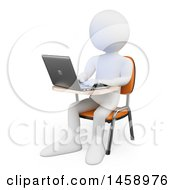 Poster, Art Print Of 3d White Man Using A Laptop On A White Background