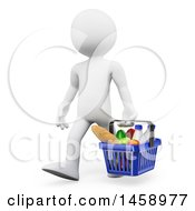 Clipart Of A 3d White Man Carrying A Grocery Shopping Basket On A White Background Royalty Free Illustration