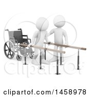 Clipart Of A 3d White Man Doing Physical Therapy On A White Background Royalty Free Illustration