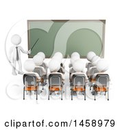 Clipart Of A 3d White Man Teaching A Class On A White Background Royalty Free Illustration