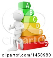 Poster, Art Print Of 3d White Man Leaning Against An Energy Rating Chart On A White Background